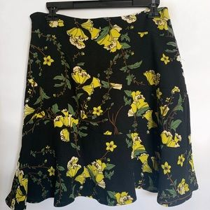 Who What Wear Black & Yellow Flower Mini Skirt